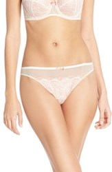 Women's B.Tempt'd By Wacoal 'B Sultry' Lace Front Thong Vanilla Ice Peach Beige