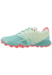 The North Face Ultra Mt Trail Running Shoes Agate Green Cayenne Red Mint