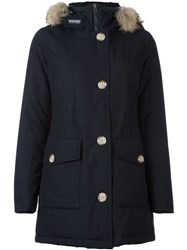 Woolrich Collar Detail Coat Blue