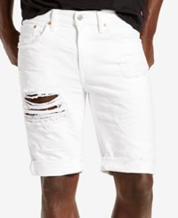 Levi's Men's 511 Slim Fit Cutoff Ripped Jean Shorts White Threads