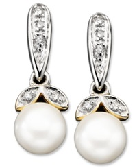 Macy's 14K Gold And Sterling Silver Earrings Cultured Freshwater Pearl And Diamond Accent