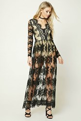Forever 21 Embroidered Lace Overlay Dress Black Nude