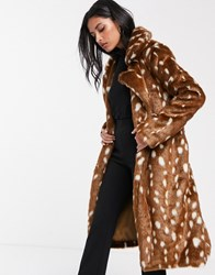 Lost Ink Belted Faux Fur Coat In Spot Brown