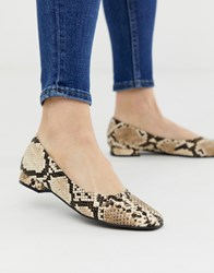 Accessorize Square Toe Snake Effect Flat Shoes Multi