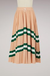 Valentino Pleated Long Skirt Nude Green