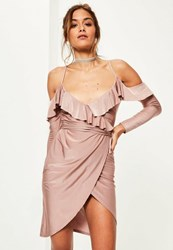 Missguided Pink Slinky Frill Cold Shoulder Midi Dress Mauve