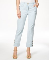Charter Club 3 Button Cropped Jeans Feather Blue