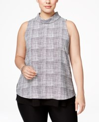 Alfani Plus Size Printed Mock Turtleneck Top Only At Macy's Woven Line