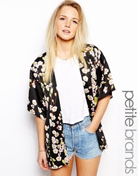 Girls On Film Petite Printed Kimono Black