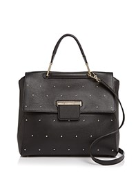 Furla Artesia Studded Leather Satchel Onyx Black Silver