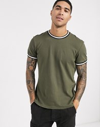 New Look Tipped Pique T Shirt In Dark Khaki Green