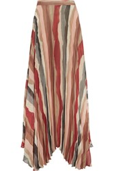Alice Olivia Shannon Asymmetric Pleated Printed Georgette Maxi Skirt Red
