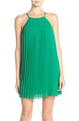 Greylin Women's Pleated Trapeze Dress With Lace Back Sea Green