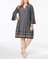 Ny Collection Plus And Petite Plus Size Printed Shift Dress Black Aztec