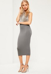 Missguided Grey Jersey Longline Midi Skirt