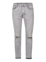 Topman Grey Ripped Cropped Stretch Skinny Jeans
