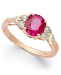 Macy's 14K Rose Gold Ring Oval Cut Ruby 1 1 2 Ct. T.W. And Diamond 1 3 Ct. T.W. Ring