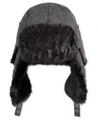 Levi's Men's Donegal Trapper Hat With Faux Fur Trim Charcoal
