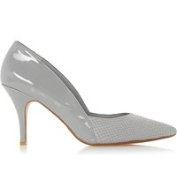 Dune Alyvia Reptile Embossed Heeled Courts Grey Patent