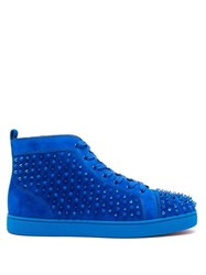 Christian Louboutin Louis Spike Embellished High Top Suede Trainers Blue
