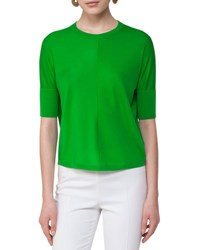 Akris Punto Knit Half Sleeve Pullover Sweater Lime