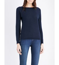 The White Company Boat Neck Knitted Jumper Navy Marl
