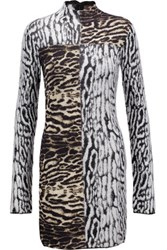 Roberto Cavalli Paneled Jacquard Knit Mini Dress Multi