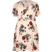 River Island Womens Ri Plus Pink Floral Print Frilly Dress