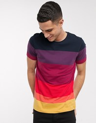 Selected Homme Organic Cotton Ombre Stripe T Shirt In Red