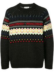 Opening Ceremony Long Sleeve Fairisle Jumper Black