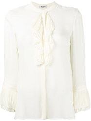 Dondup Ruffled Trim Top Women Silk 42 White