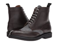 Eleventy Leather Flannel Wingtip Boot Brown Grey Men's Boots