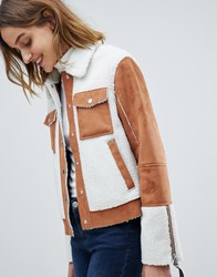 62250d511 Barney's Originals Trucker Jacket In Faux Fur Suede And Faux Fur Shearling  Tan And Cream