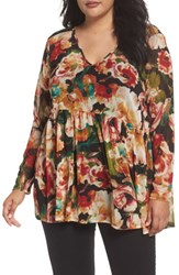 Sejour Plus Size Women's Floral Print Mesh Peplum Tunic Red Combo Floral Collage Print