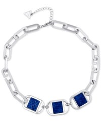 Guess Silver Tone And Blue Imitation Python Necklace