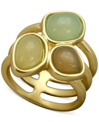 T Tahari Openwork Triple Stone Ring Gold Green
