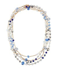 Emily And Ashley Long Double Strand Simulated Crystal Necklace Blue