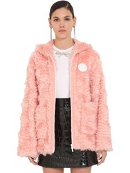 Miu Miu Hooded Faux Fur Zip Up Jacket Begonia