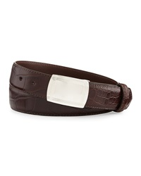 W.Kleinberg Matte Alligator Belt With Plaque Buckle Chocolate Made To Order