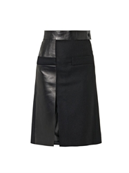 Atto Leather Panel Wool Skirt