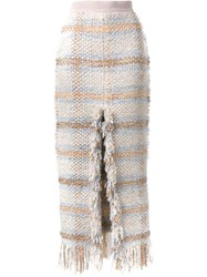 Lalo Tweed High Waisted Skirt White