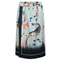 Klements Scarf Skirt In Rainbow Trout Print Blue