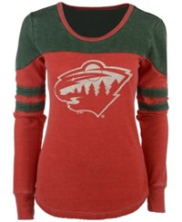 G3 Sports Women's Minnesota Wild Hat Trick Thermal Long Sleeve T Shirt Red Green