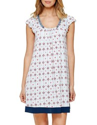 Ellen Tracy Plus Patterned Chemise Ivory Teal