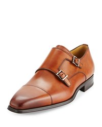 Magnanni Cap Toe Leather Double Monk Loafer Brown