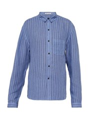 Denis Colomb Marcello Striped Slubbed Linen Shirt Blue