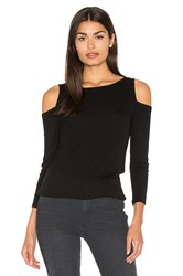 Michael Stars 2X1 Rib 3 4 Sleeve Cold Shoulder Top Black