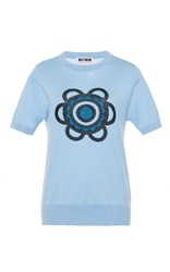 Holly Fulton Short Sleeve Knitted Top Blue