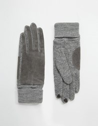 Esprit Leather Panel Gloves With Touch Screen Fingertips Grey