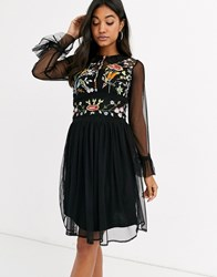 Frock And Frill Mesh Long Sleeve Embroidered Detail Collar Dress Black